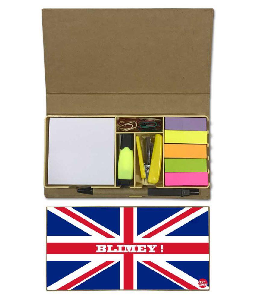 Nutcase Designer Stationary Kit Desk Customised Organizer Memo Notepad - Union Flag