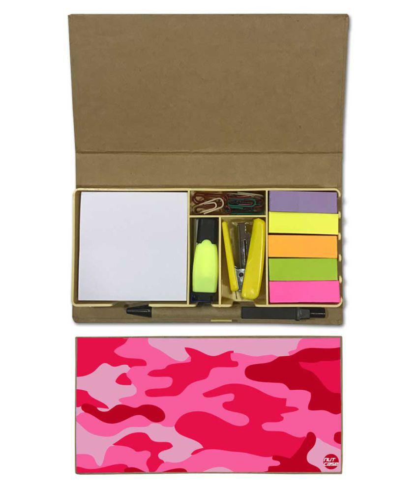 Nutcase Designer Stationary Kit Desk Customised Organizer Memo Notepad - Pink Army Camouflage