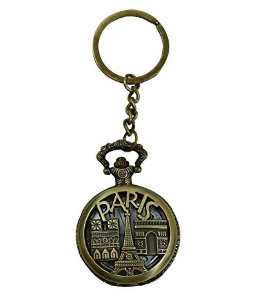 Tag Sky-Paris Eiffel Tower Pocket Watch Clock Vintage Keychain