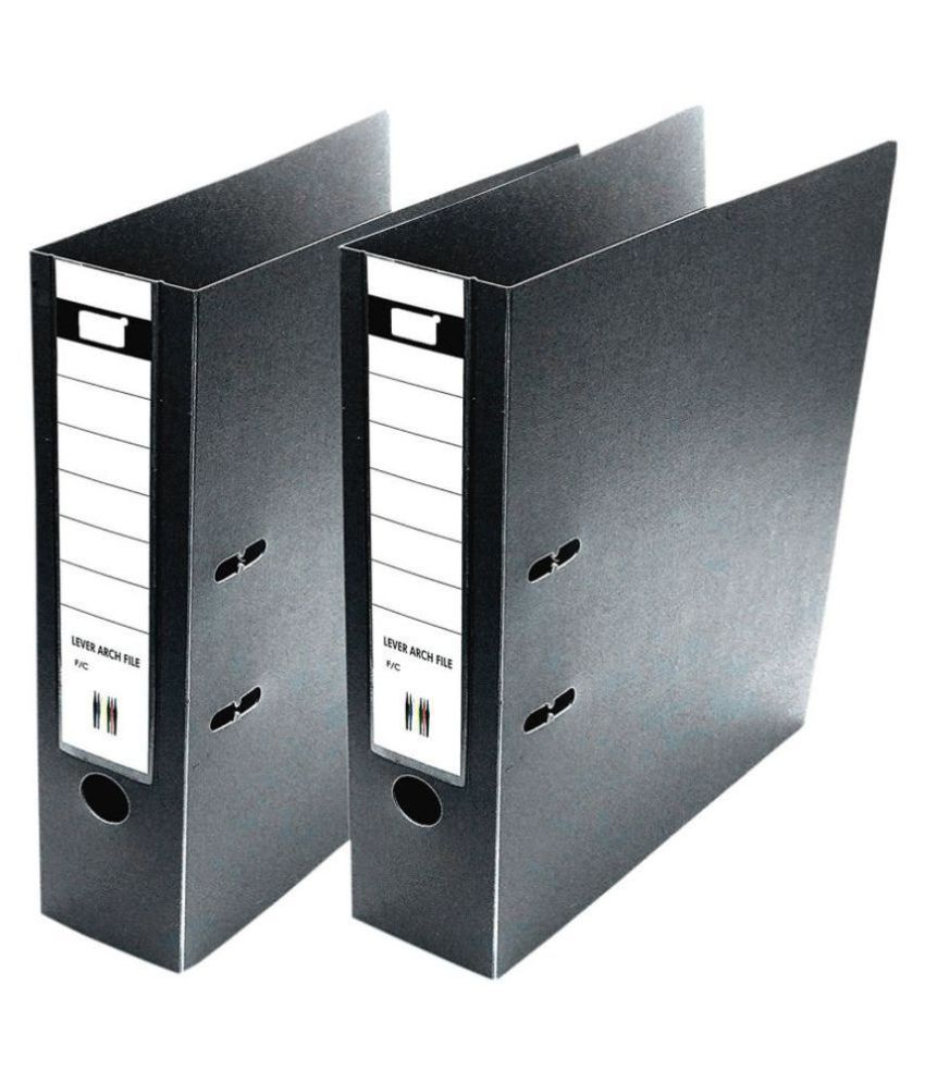 Box File 2D FC Executive Range PVC Ring Binder Lever Arch, Pack of 2 - Black