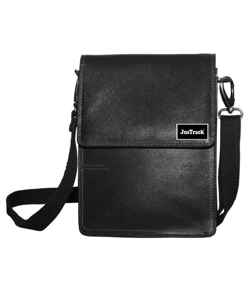 Justrack LSBU17-JT_12 Black Leather Casual Messenger Bag