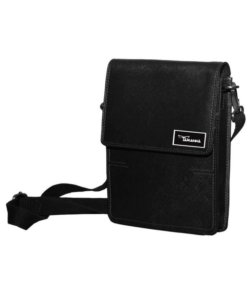 Tamanna LSBU17-TM_17 Black Leather Casual Messenger Bag