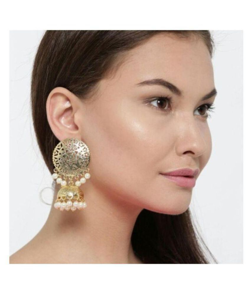 Beautiful Stylish Fashionable Golden Jhumki Earrings With Pearl For Women And Girls
