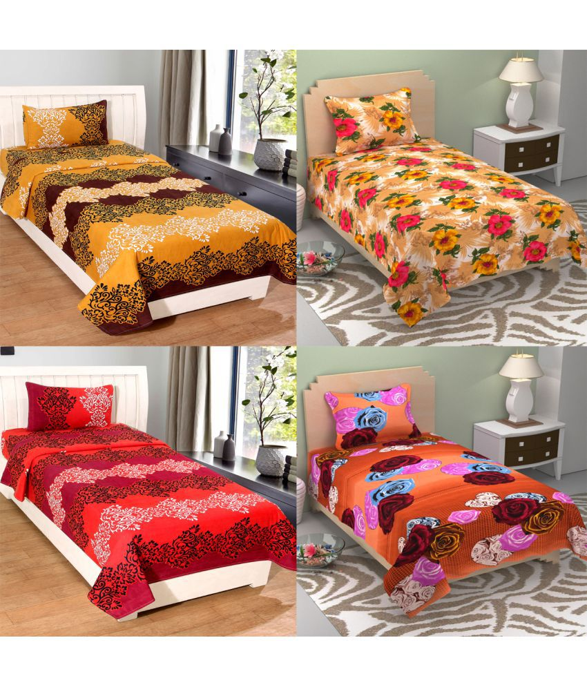 Homefab India Poly Cotton 4 Single Bedsheets with 4 Pillow Covers