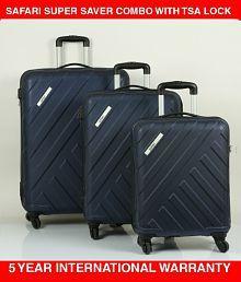 97f0542d16fd Quick View. Safari Polycarbonate (Small + Medium +Large) Trolley Luggage  Midnight Blue ...