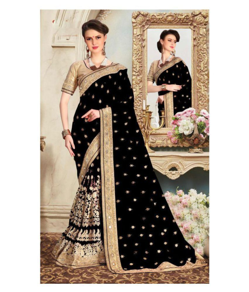 Pragati Fashion Hub Beige and Black Dupion Silk Saree
