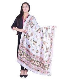 Disha White Cotton Dori Embroidered Dupatta