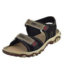 Elvace Black Leather Sandals