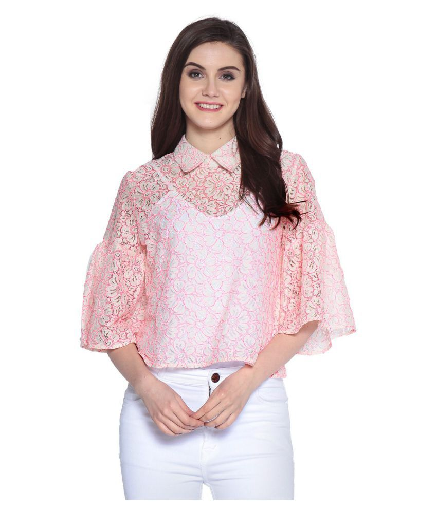 45d2a1b2d33f Abiti Bella Lace Regular Tops - Pink - Buy Abiti Bella Lace Regular Tops -  Pink Online at Best Prices in India on Snapdeal