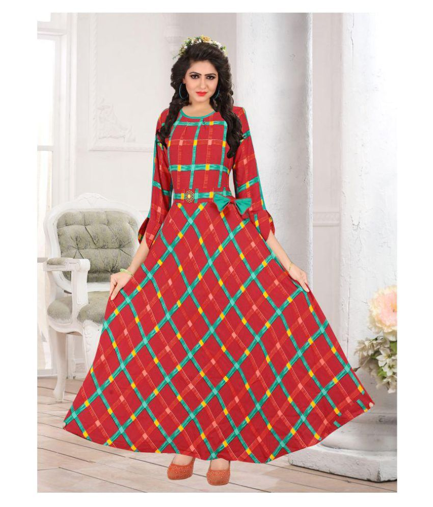 Krupalu Creation Red Rayon A-line Kurti