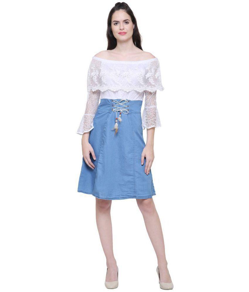Fashion Village Denim Blue Fit And Flare Dress Buy