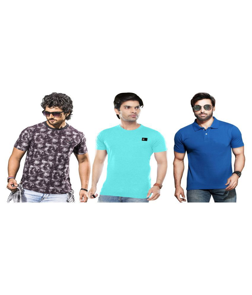 KUNDAN SULZ GWALIOR Blue Half Sleeve T-Shirt Pack of 3