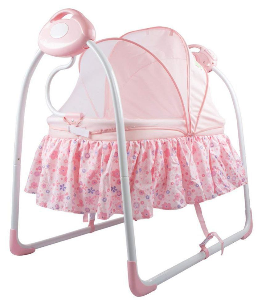 Baybee Premium Quality Electric Baby Cradle Swing | Music Sleeping Basket Bed | Lightweight and Transportable (Pink)