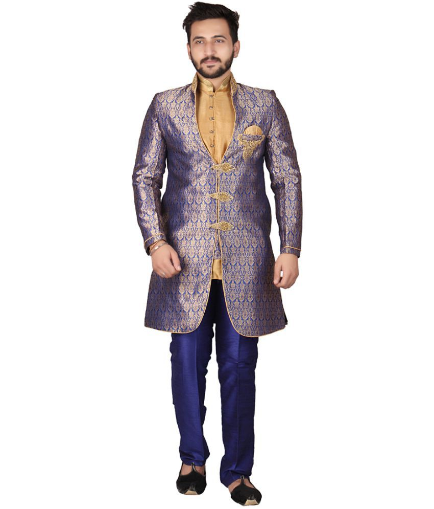 SG RAJASAHAB Blue Silk Kurta Pyjama Set Pack of 3