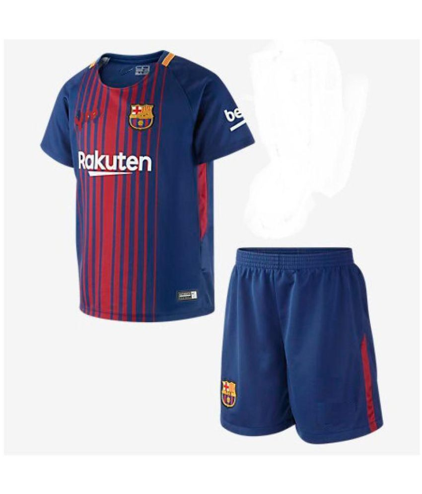 78f50705d7d f c barca home kit 2017-18 jersey with shorts half sleeves for kids - Buy