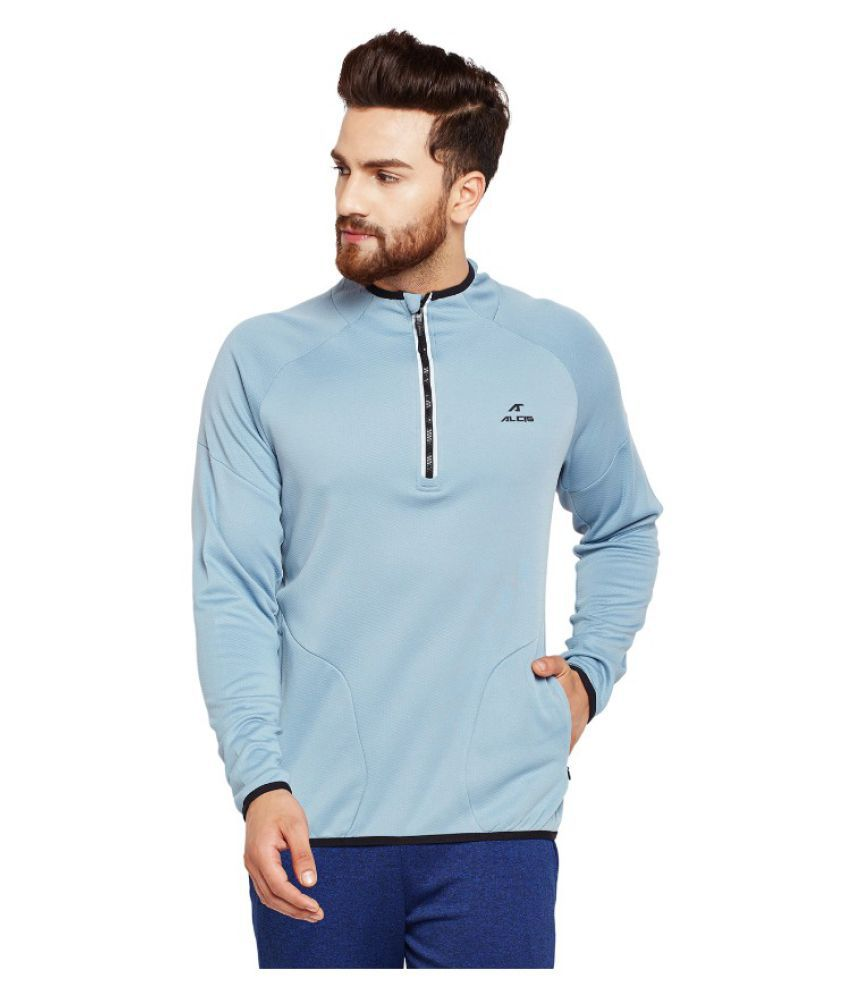 Alcis Mens Solid Blue Sweat Shirt