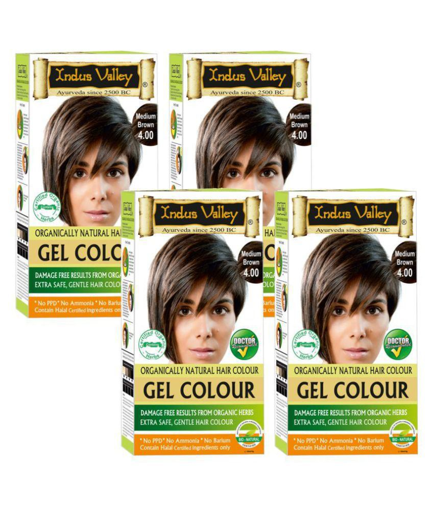 Indus Valley Organically Natural Gel Medium Brown 4.0 -One Touch Pack Root Touch Ups Haair Color Brown 4.0 200 gm Pack of 4