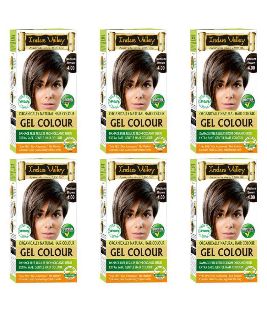Indus Valley Organically Natural Gel Hair Dye Medium Brown 4.0-One Touch Pack Root Touch Ups Haair Color Brown 4.0 300 gm Pack of 6