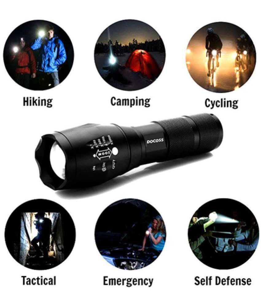 SHB 4W Flashlight Torch 5 modes Waterproof Cree Bright Zoom LED Torches - Pack of 1