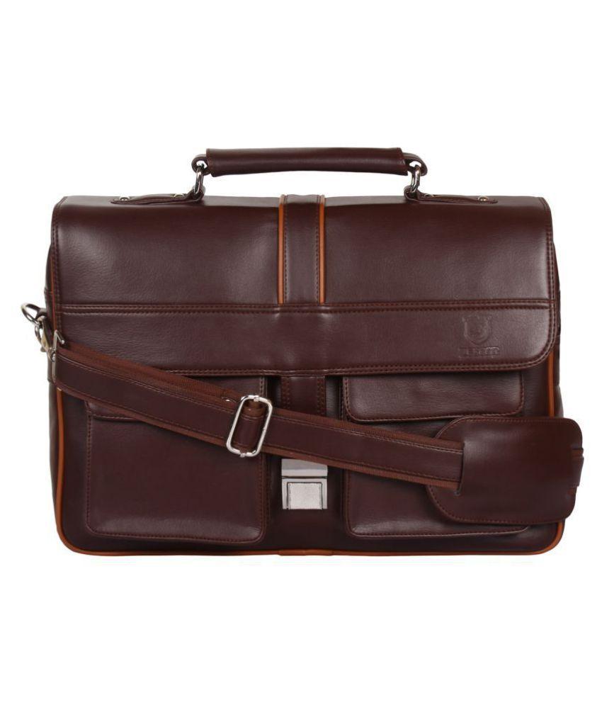 Zeppar Brown P.U. Office Messenger Bag