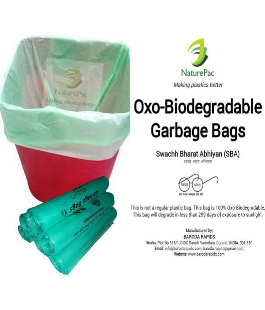 NaturePac Garbage Bags Biodegradable Premium Medium Green Colour Size 48 Cm X 56 Cm (19x22 Inch) 90 Bags