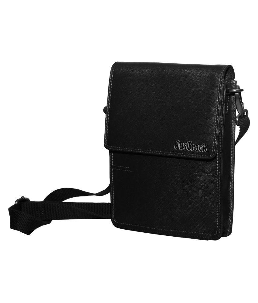 Justrack LSBU17-JT_8 Black Leather Casual Messenger Bag