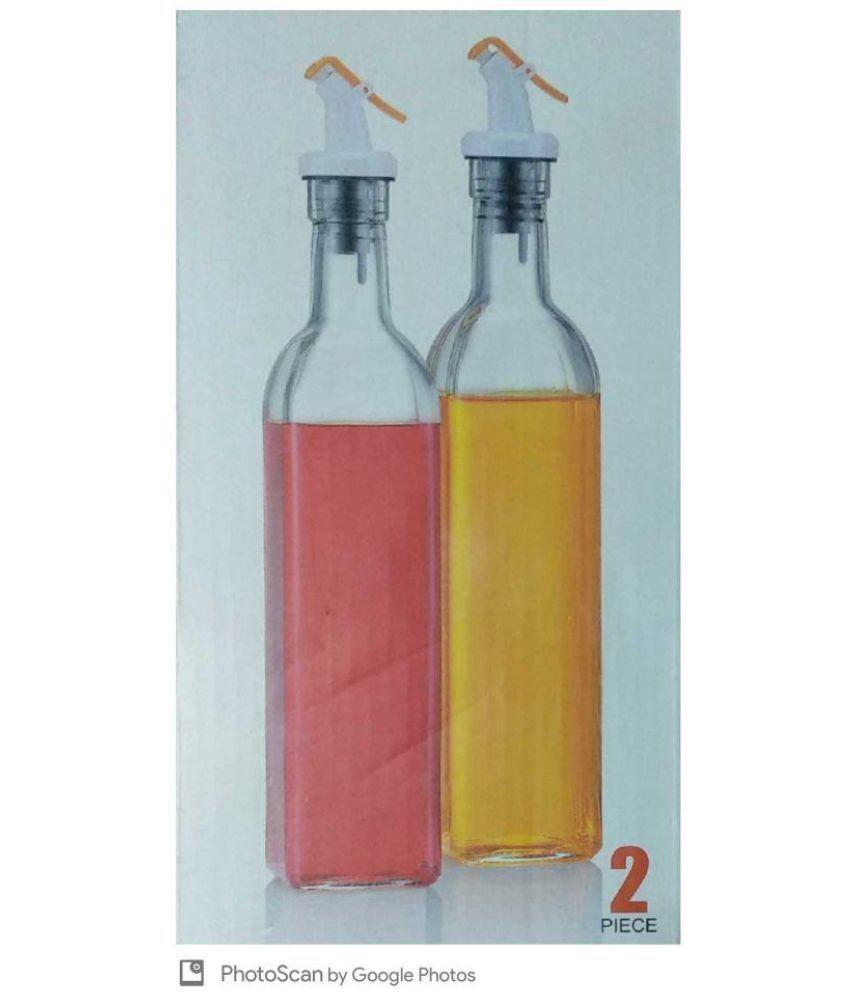 Kara Glass Oil and Vinegar Cruet for Home 500ml Glass Oil Container/Dispenser Set of 2