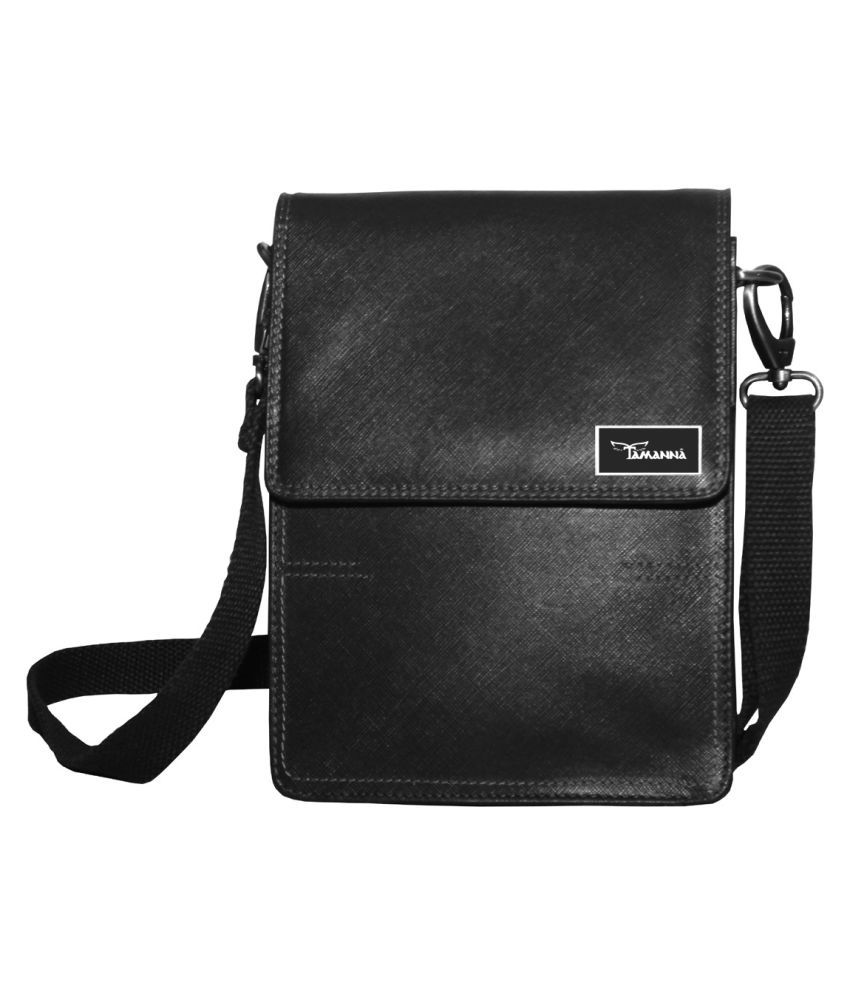 Tamanna LSBU17-TM_4 Black Leather Casual Messenger Bag
