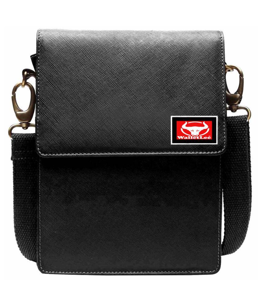 WalletLee LSBU5-WL_3 Black Leather Casual Messenger Bag