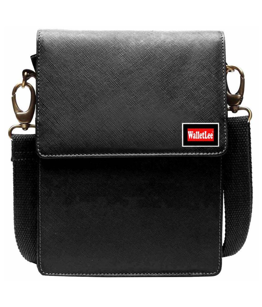WalletLee LSBU5-WL_5 Black Leather Casual Messenger Bag