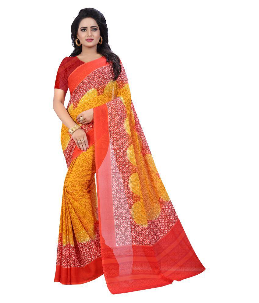 Tithi Kumari Yellow Georgette Saree