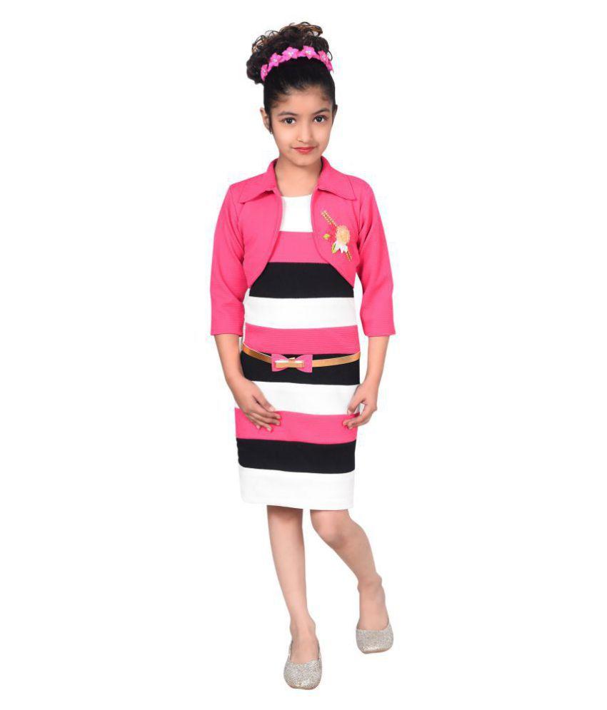 c719ae1f365 Sky Heights Girls Midi Knee Length Western Dress(Pink