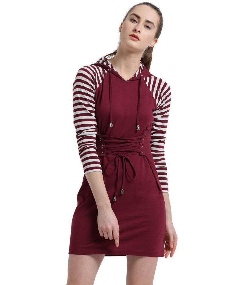 Texco Cotton Maroon Regular Dress