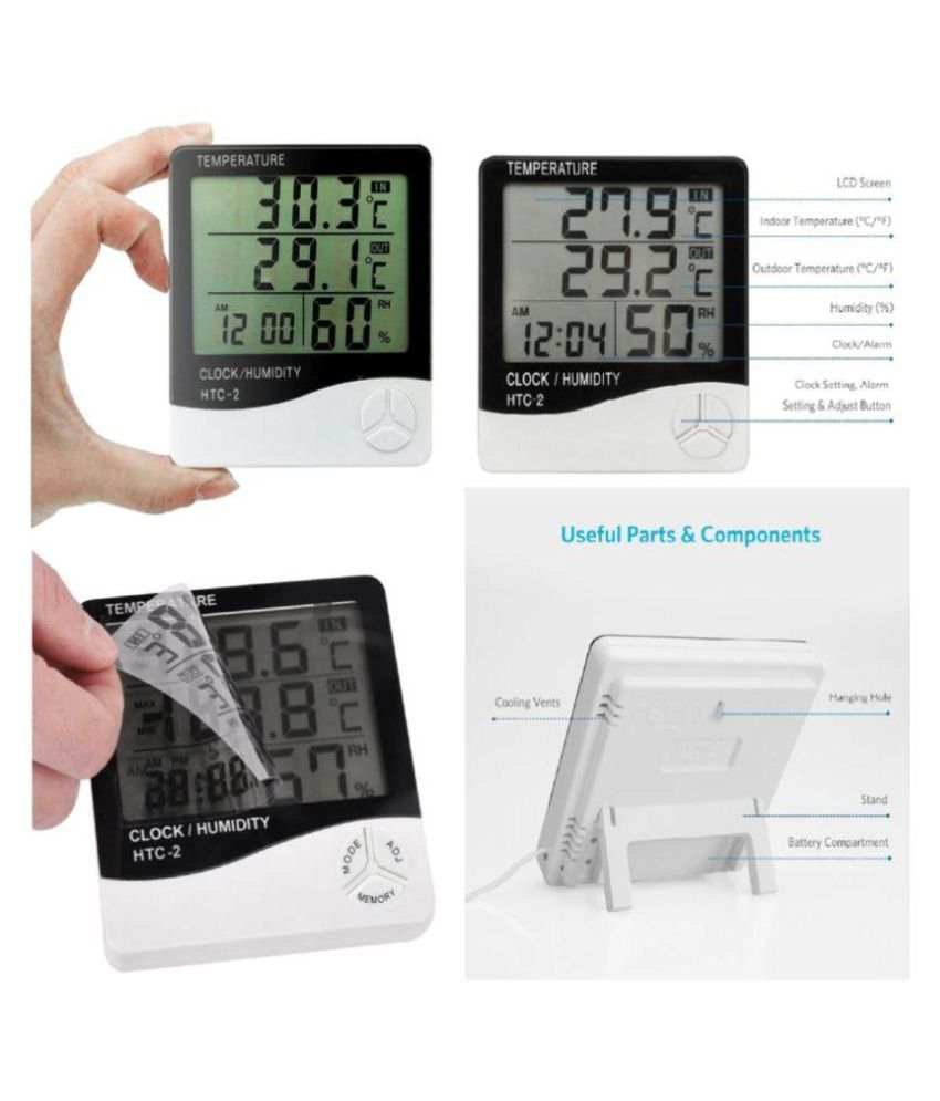 Digital Thermometer Lcd Hygrometer Htc 2 With External Sensing Probe Multifunction And Clock Alarm Flexible