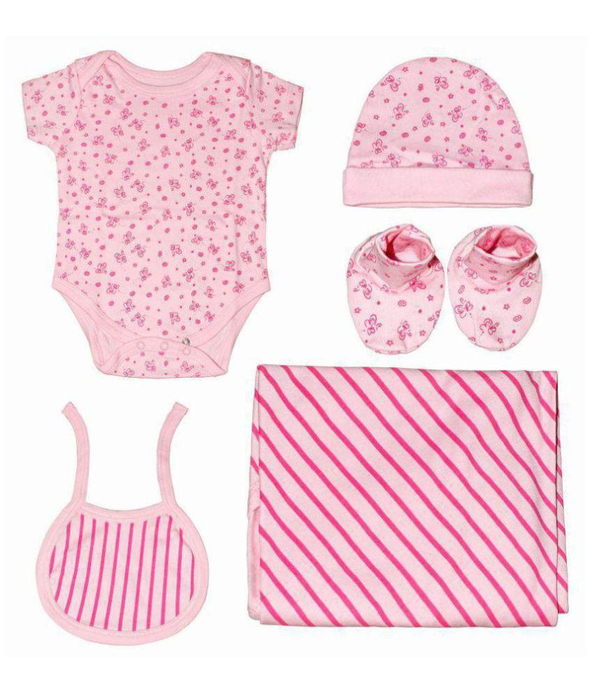 Kothari Pink Cotton Baby Gift Set - Set of 5
