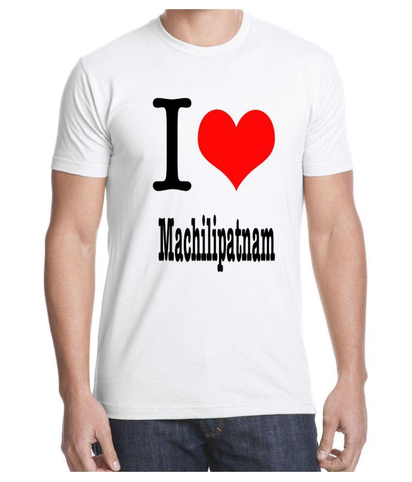 Ritzees Unisex Half Sleeve White Cotton T-Shirt Cotton T-Shirt I Love Machilipatnam for Men, Women, Kids(White, 34)