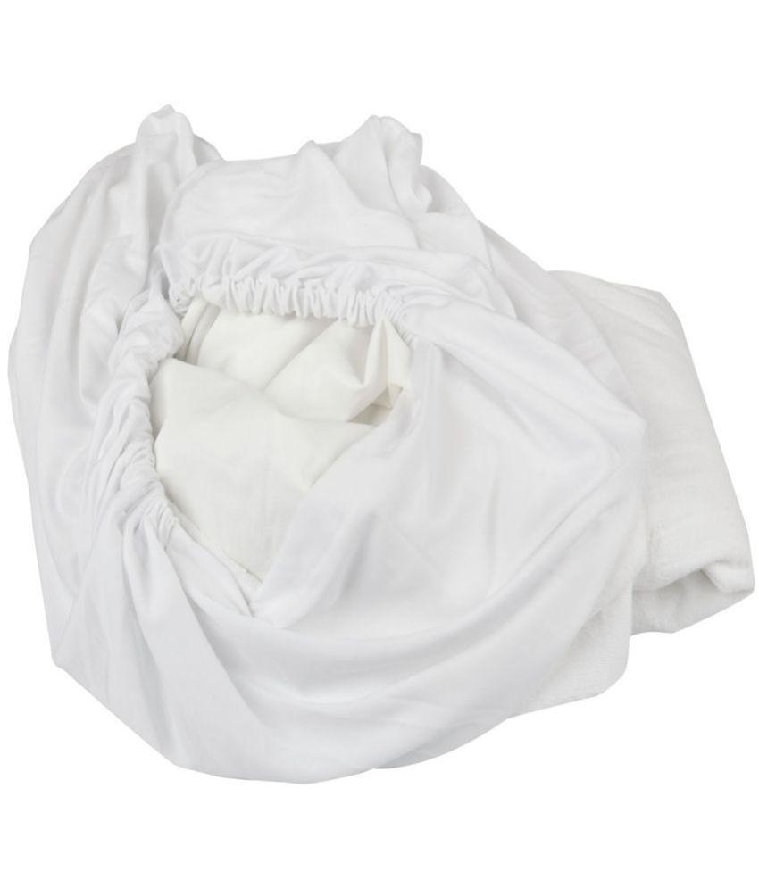 Just Linen Just Linen 150 TC King  SizeMattress Protector White Cotton Mattress Protector