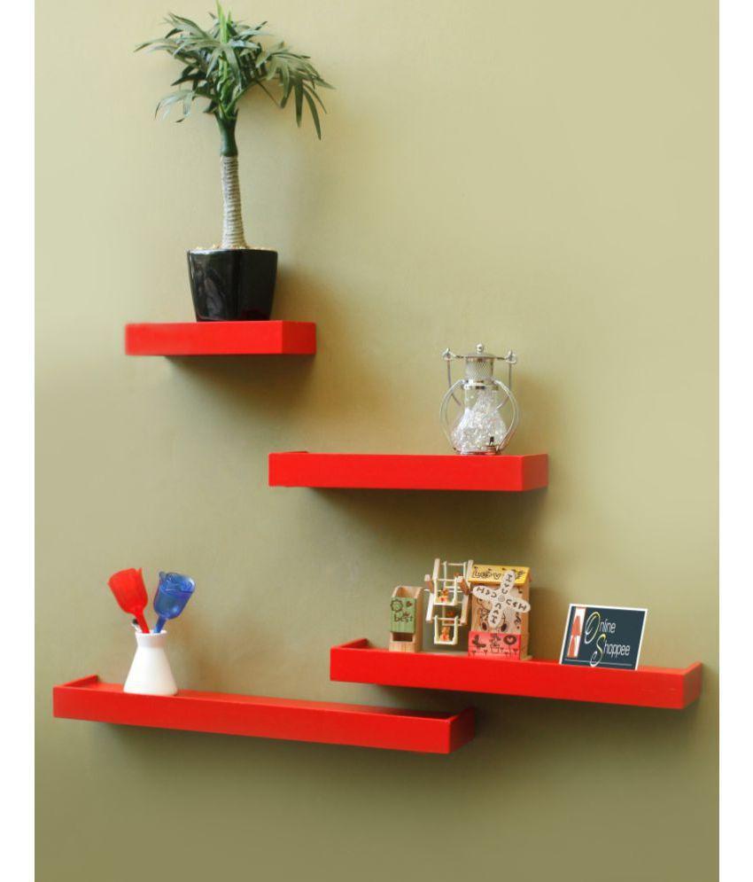 Onlineshoppee Floating Shelves Red Wood - Pack of 4