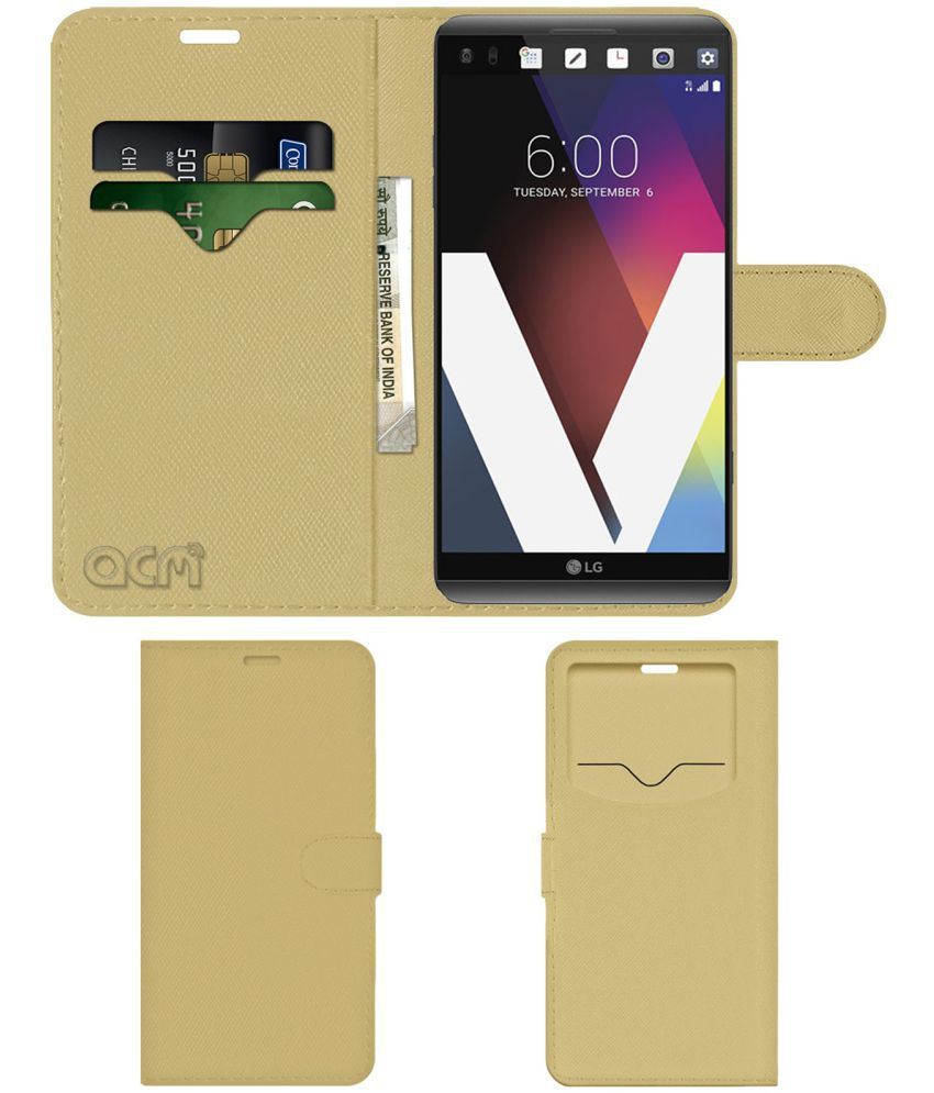 Lg V20 Flip Cover by ACM - Golden Wallet Case,Can store 2 Card & 1 Cash Pockets