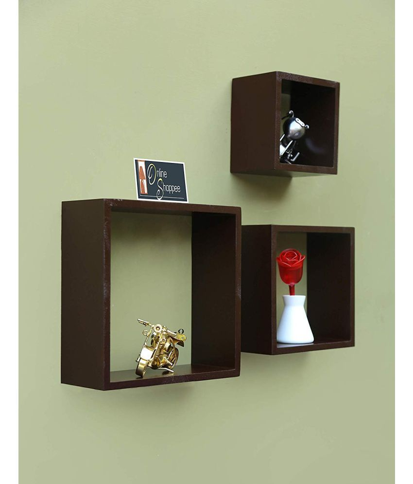 Onlineshoppee Floating Shelves Brown MDF - Pack of 3