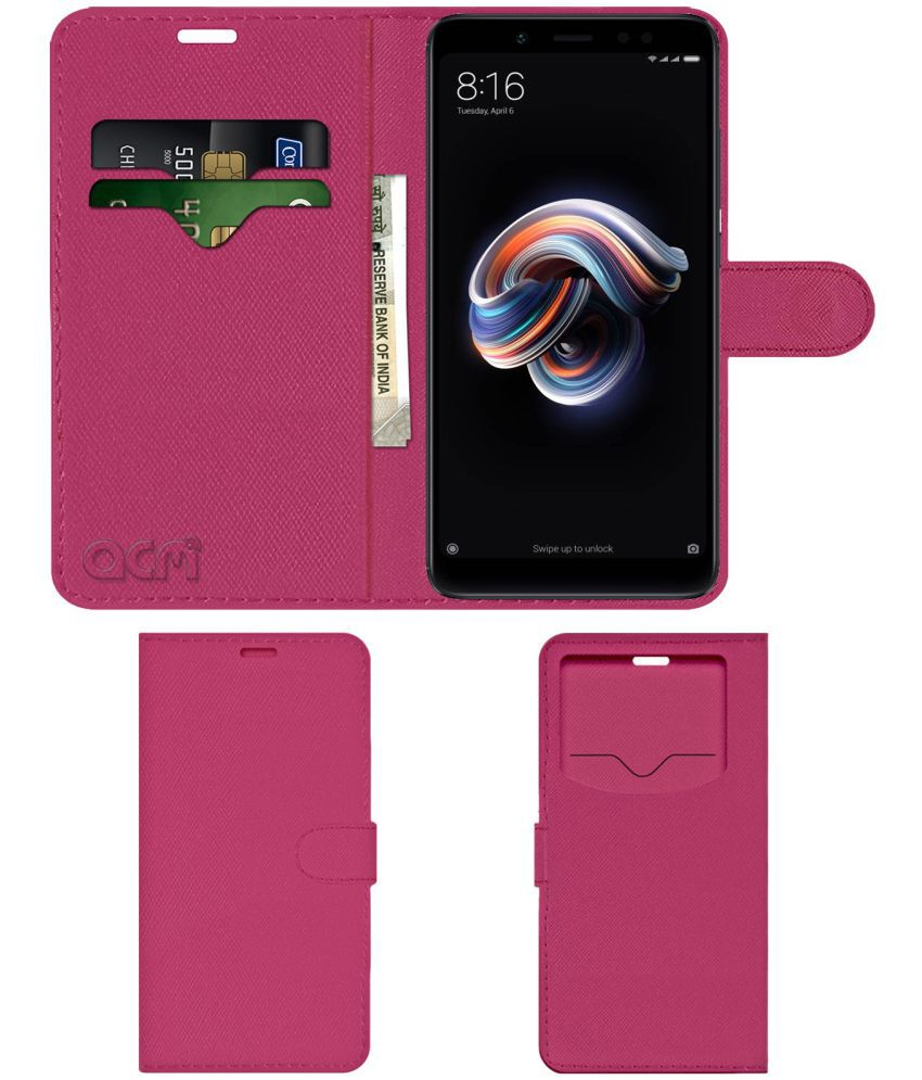 check out ce0ea 55b2a Xiaomi Redmi Note 5 Pro Flip Cover by ACM - Pink Wallet Case,Can store 2  Card & 1 Cash Pockets