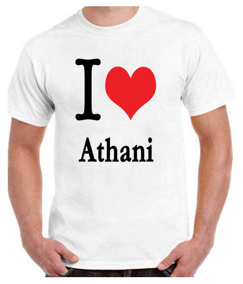 Ritzees Unisex Half Sleeve White Cotton T-Shirt Cotton T-Shirt I Love Athani for Men, Women, Kids(White, 34)