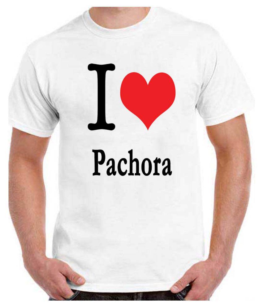 Ritzees Unisex Half Sleeve White Cotton T-Shirt Cotton T-Shirt I Love Pachora for Men, Women, Kids(White, 34)