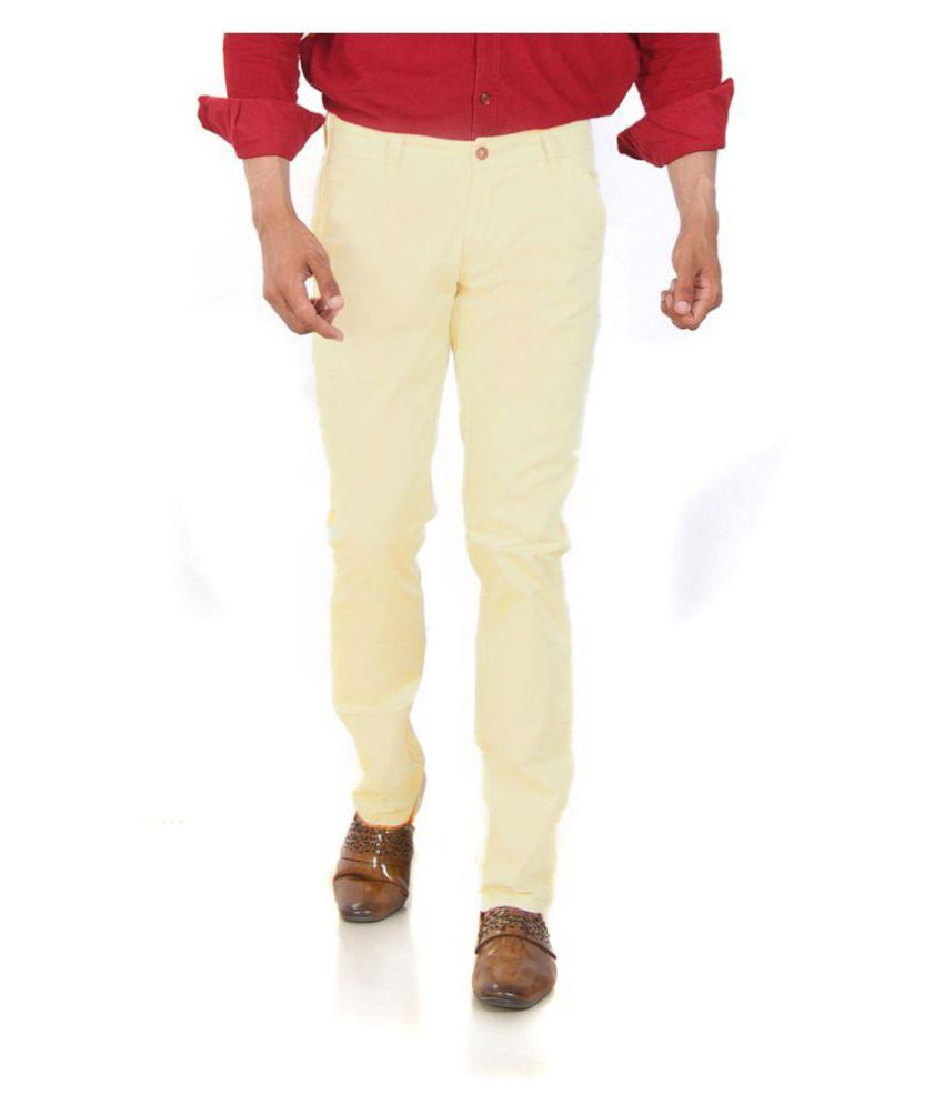 mapp Beige Slim -Fit Flat Trousers