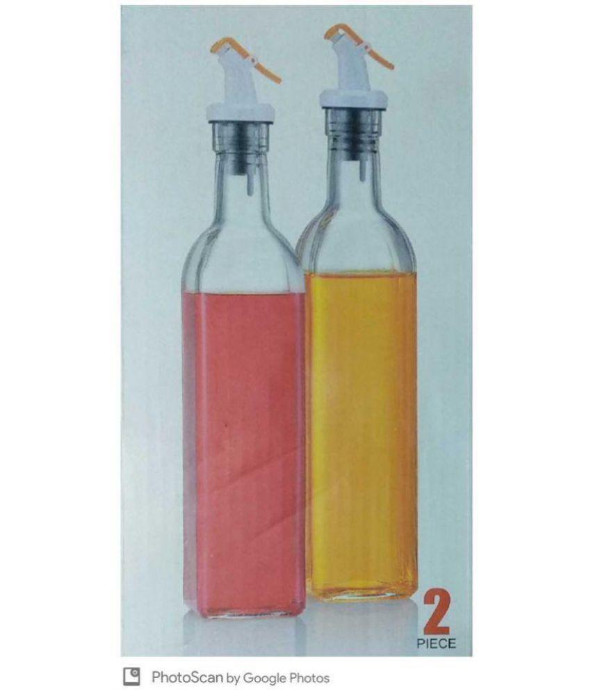 Kara Oil  amp; Vinegar Cruet Multicolour 500 ml Glass Fruit Infuser Set of 2