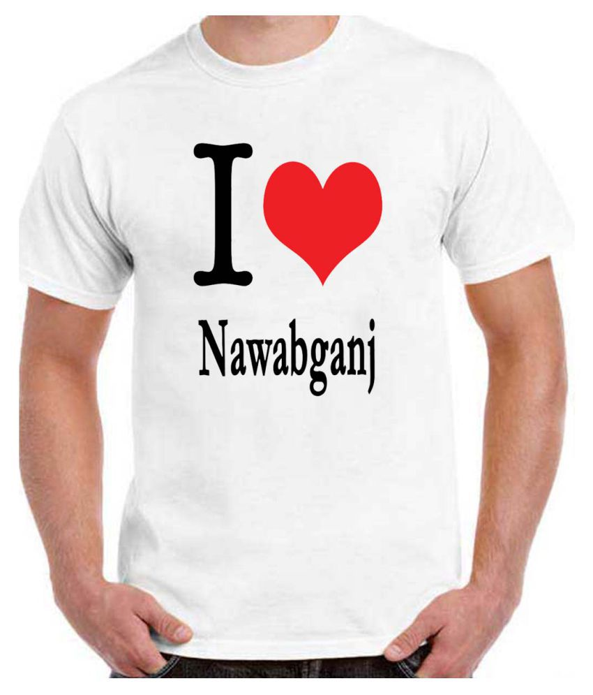 Ritzees Unisex Half Sleeve White Cotton T-Shirt Cotton T-Shirt I Love Nawabganj for Men, Women, Kids(White, 34)