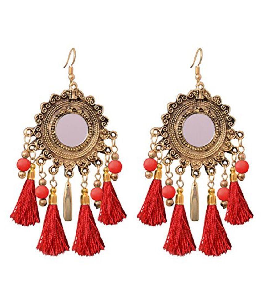 Sitashi Red Alloy Afgani Style Tassel Earrings for Women