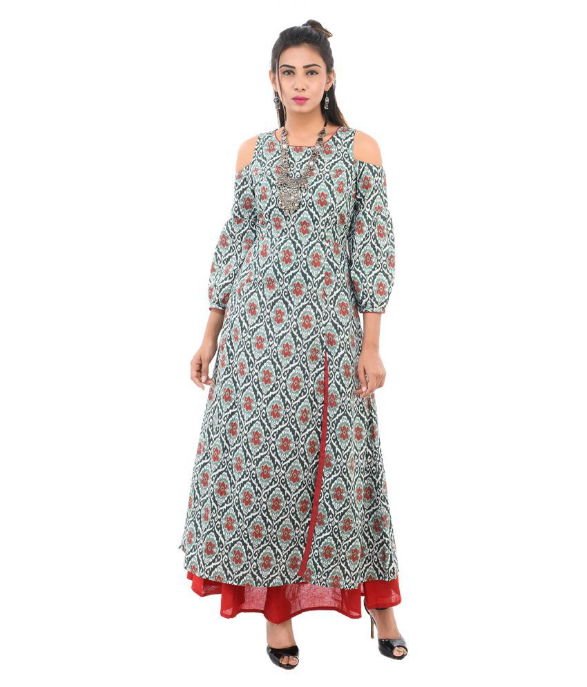 Vedic Green Cotton Anarkali Kurti
