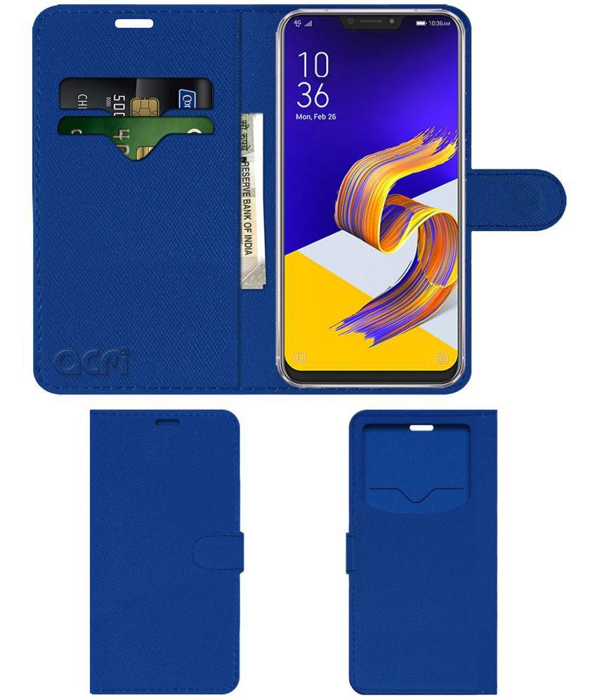 Asus Zenfone 5z Flip Cover by ACM - Blue Wallet Case,Can store 2 Card & 1 Cash Pockets