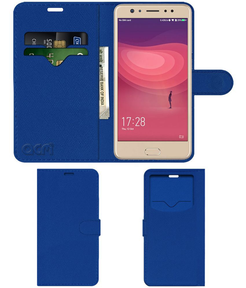 Coolpad Note 6 Flip Cover by ACM - Blue Wallet Case,Can store 2 Card & 1 Cash Pockets